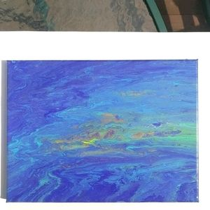 Original abstract painting purple teal copper